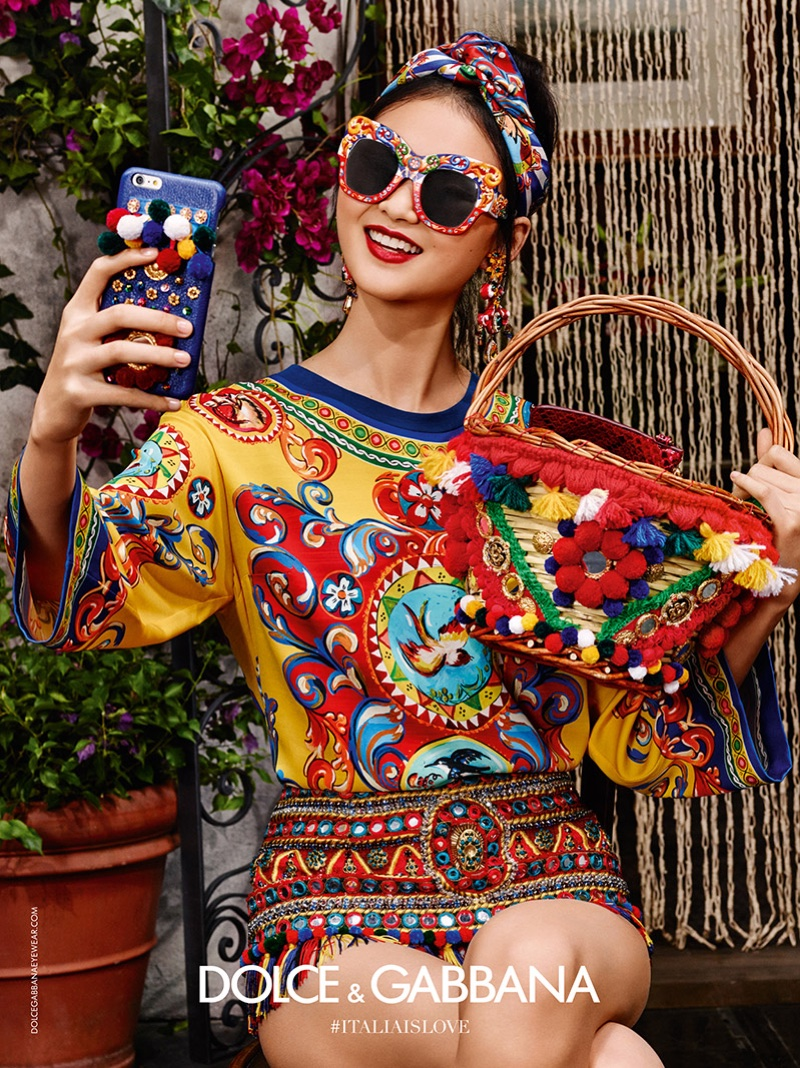 He Cong takes a selfie in Dolce & Gabbana's spring 2016 eyewear campaign