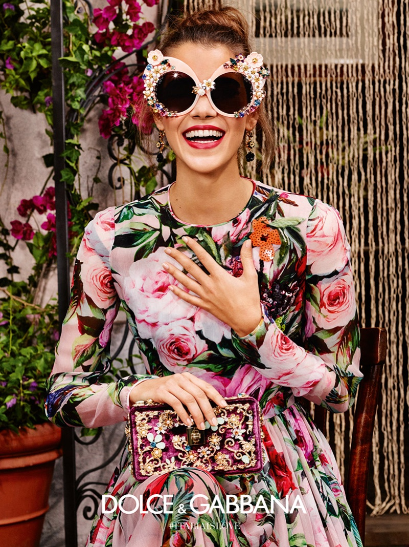 Pauline Hoarau is all smiles in Dolce & Gabbana's spring 2016 eyewear campaign