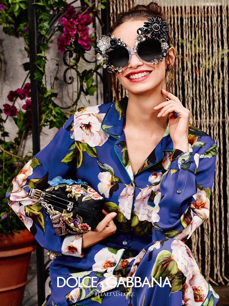 Luma Grothe wears embellished sunglasses from Dolce & Gabbana's spring 2016 eyewear campaign