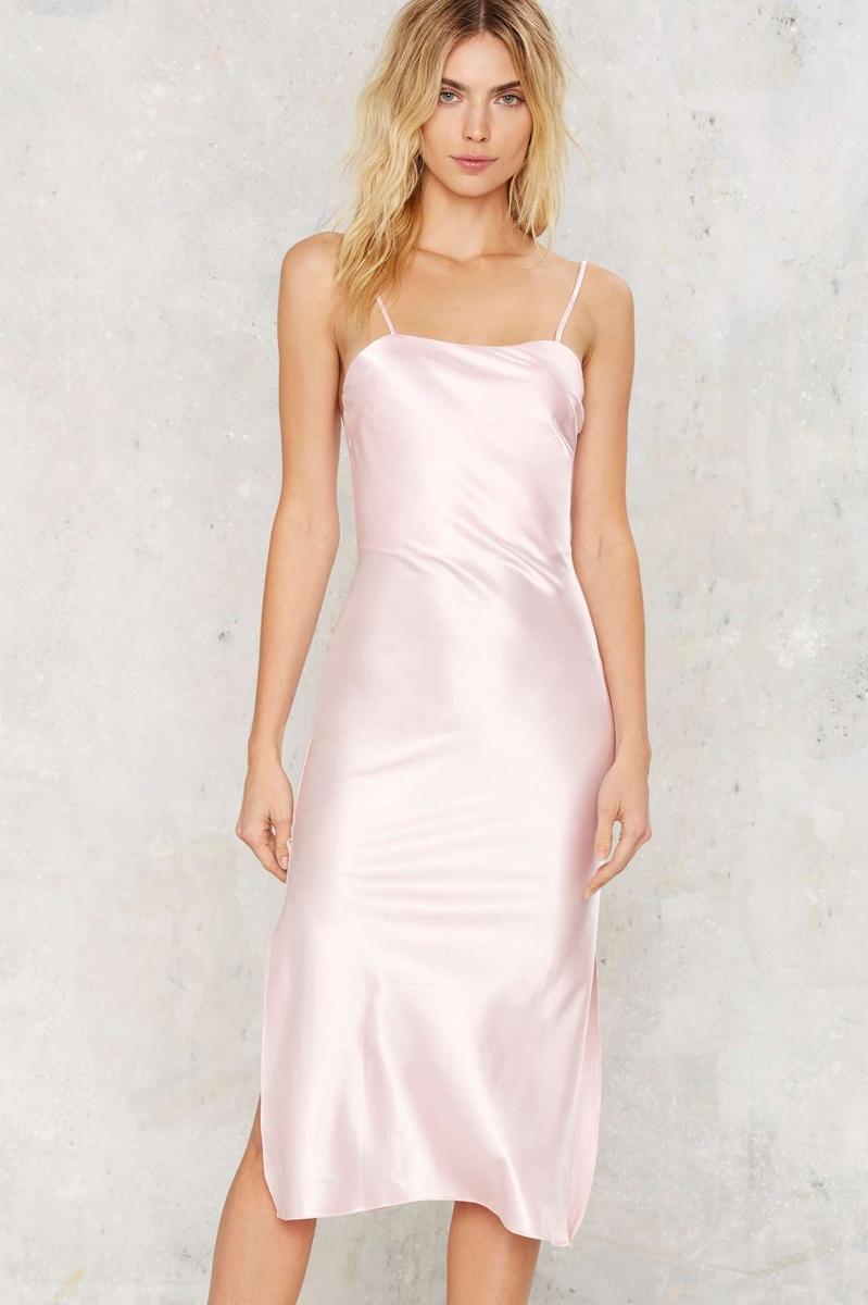 Dyspnea Gold Digger Pom Pom Pink Slip Dress