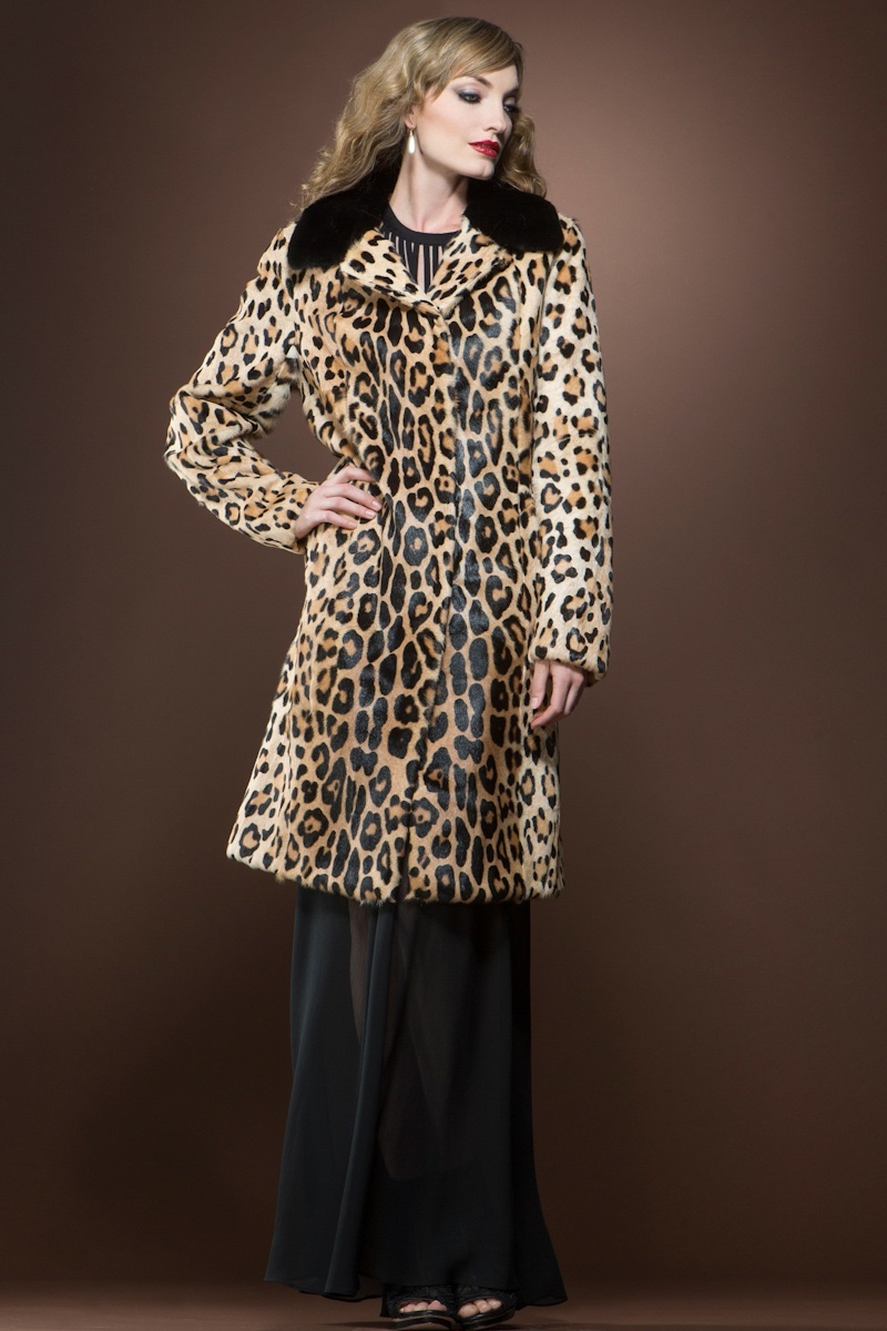 EM-EL Animal Print Kidskin Mink Mid-Length Fur Coat $2,390 - A leopard print coat will certainly make you the belle of the party. Hitting at knee-length, this coat is made to wear with a long skirt or culotte pants.