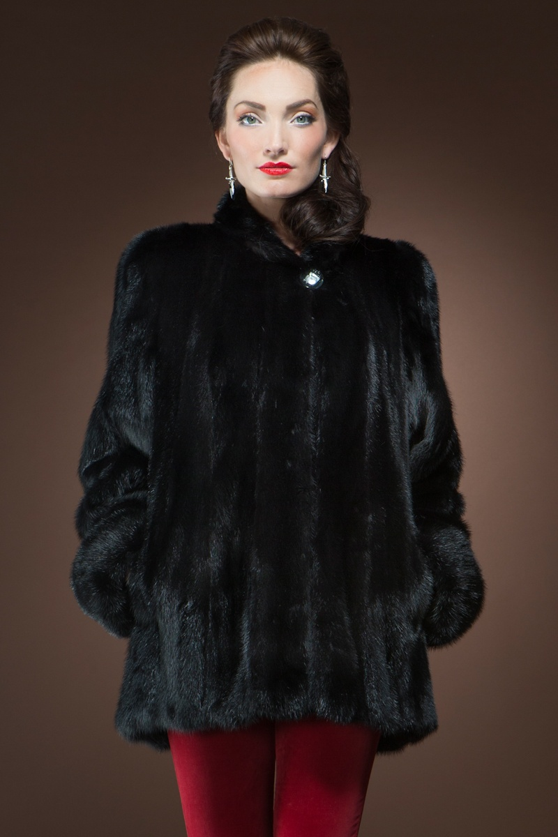 EM-EL Ranch Mink Fur Coat $4,900 - Get ready to turn heads in this gorgeous mink fur jacket. A dramatic black color is versatile and can be worn during a daytime or evening event.
