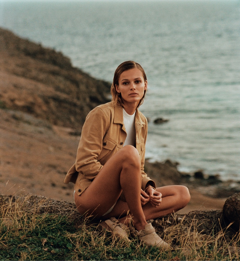 Chilling on the beach, Edita models a Simon Miller Jacket