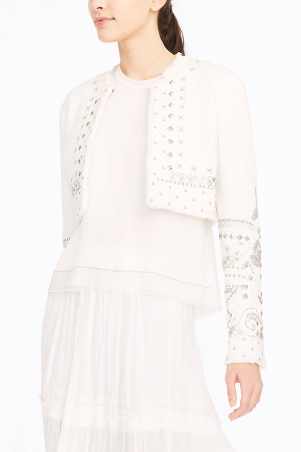 Elie Tahari Doris Cropped Jacket in Textured Cotton