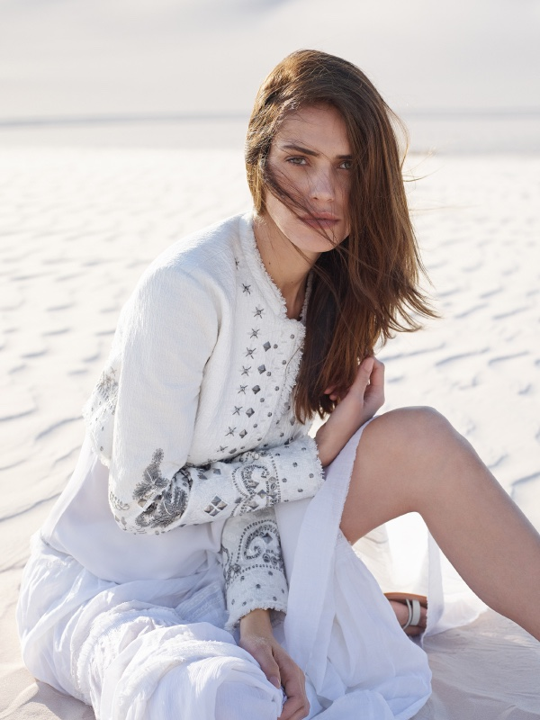 Model wears cropped and embellished jacket from Elie Tahari's spring 2016 collection