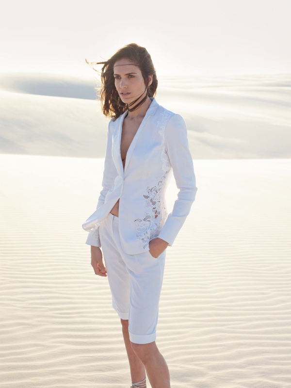 Amanda Wellsh models white blazer and shorts from Elie Tahari's spring 2016 collection