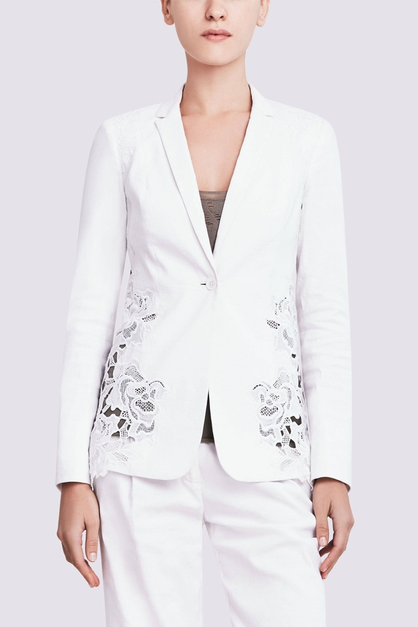 Elie Tahari Wendy Linen Jacket with Floral Detail