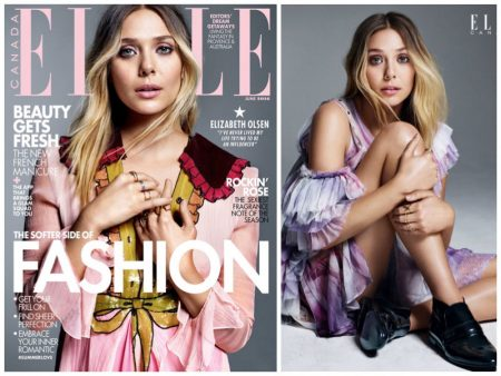 Elizabeth Olsen Wears Pretty Ruffles & Pastels in ELLE Canada