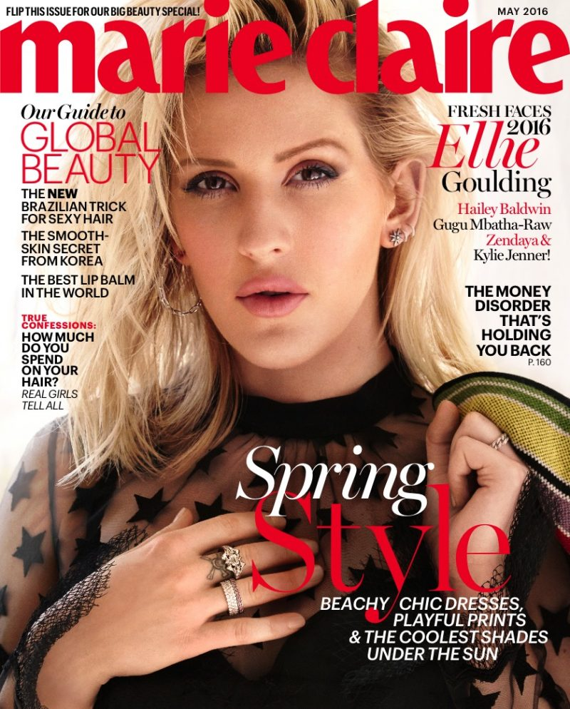 Ellie Goulding covers the May 2016 issue of Marie Claire.