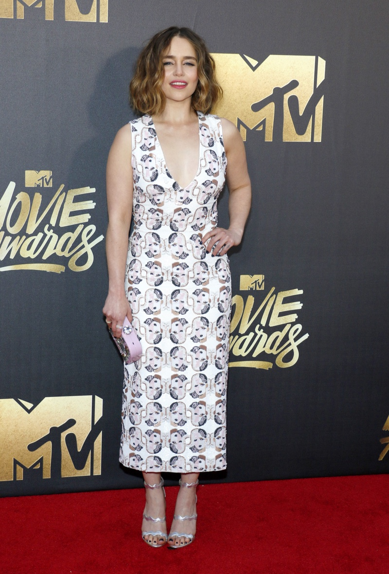 Game of Thrones star Emilia Clarke stepped out in a printed Miu Miu dress. Photo: Tinseltown / Shutterstock.com