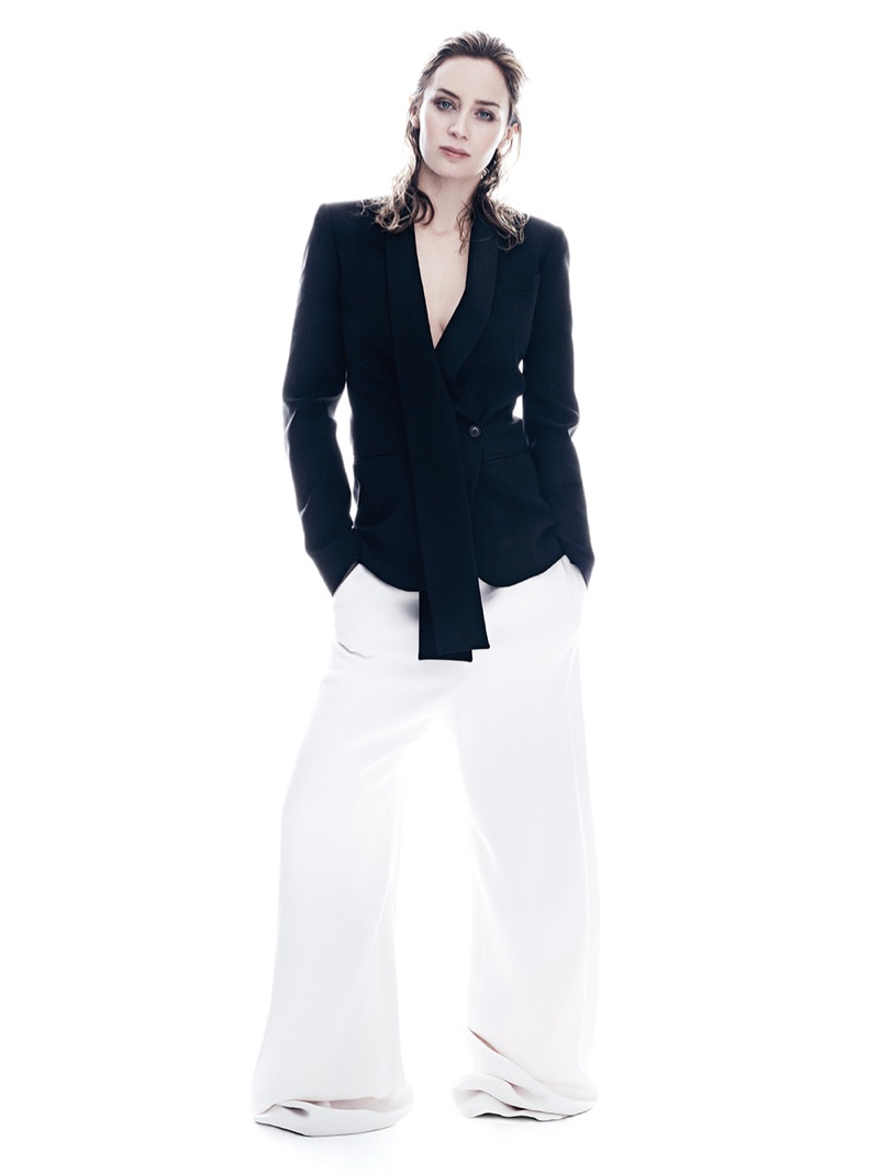 Emily Blunt strikes a pose in Michael Kors Collection blazer with white Balenciaga pants