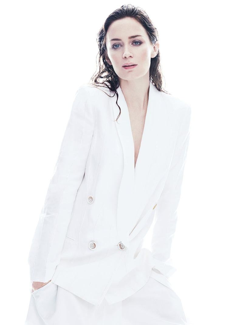 Emily Blunt Wears Minimal Suiting for C Magazine
