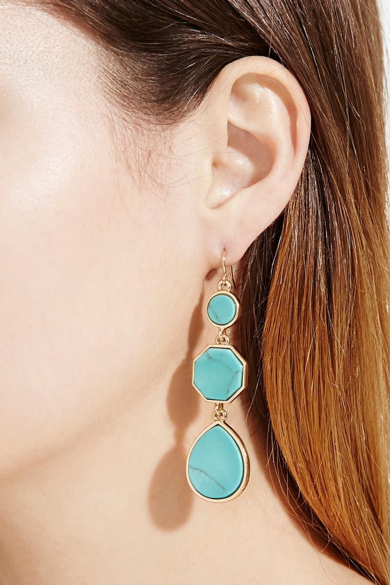 Forever 21 Faux Stone Drop Earrings $7.90