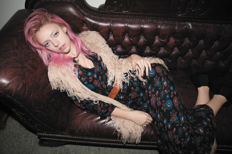 Pyper America Smith chills in a printed romper and faux fur vest from Forever 21