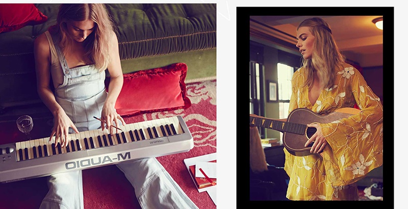 Charlee plays the keyboard (left) and wears Free People Take a Chance Mini Dress (right)