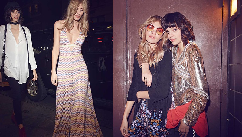 Maritza Veer and Charlee Fraser model 70's inspired looks in Free People's Backstage Pass lookbook