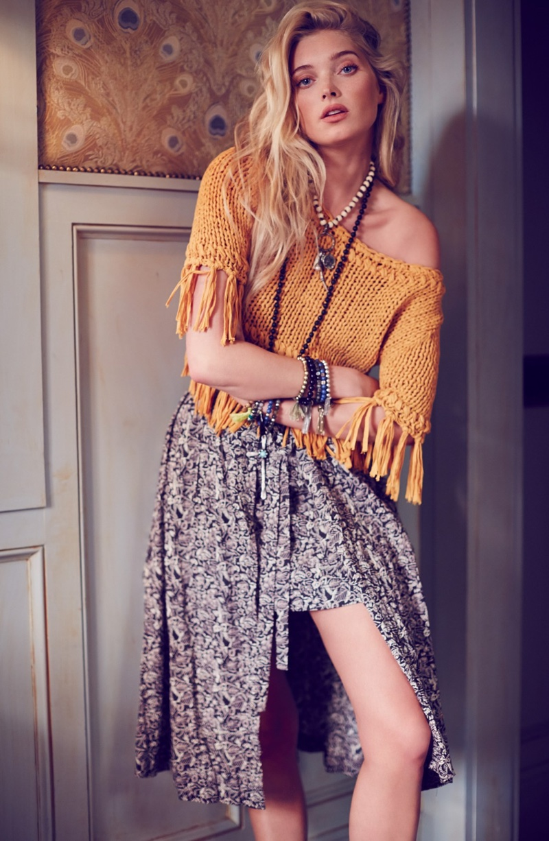 Free People On the Fringe Crop Cotton Sweater and Love Train Wrap Skirt