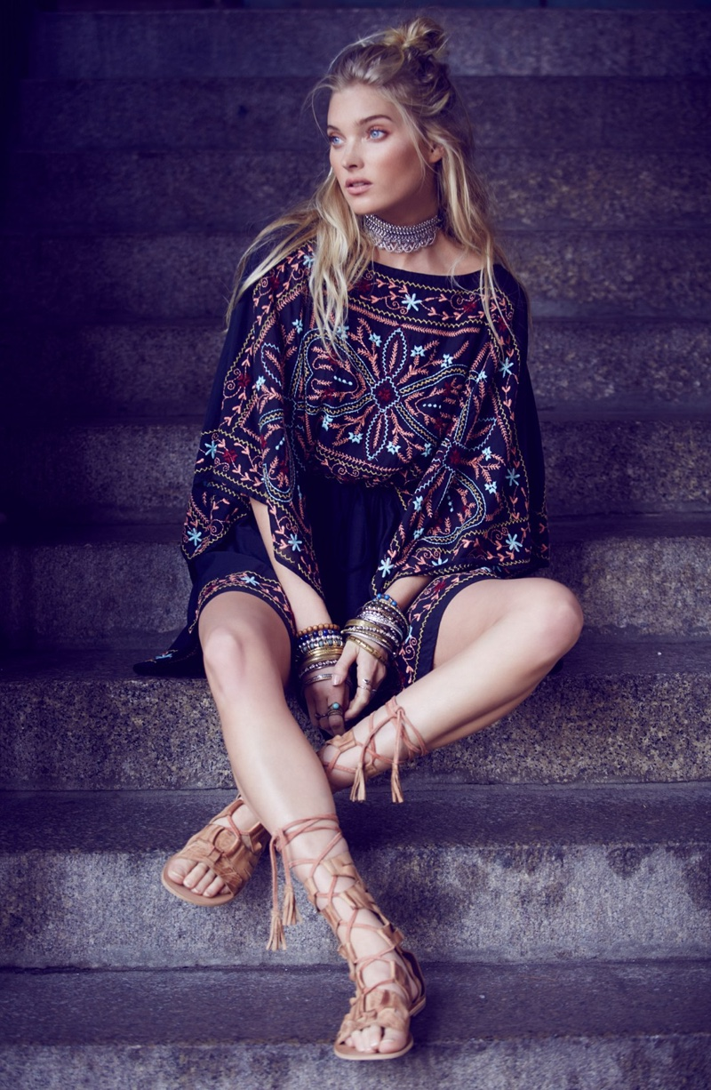 Free People Sheer Batiste Embroidered Tunic and Mesa Verde Tall Gladiator Sandal