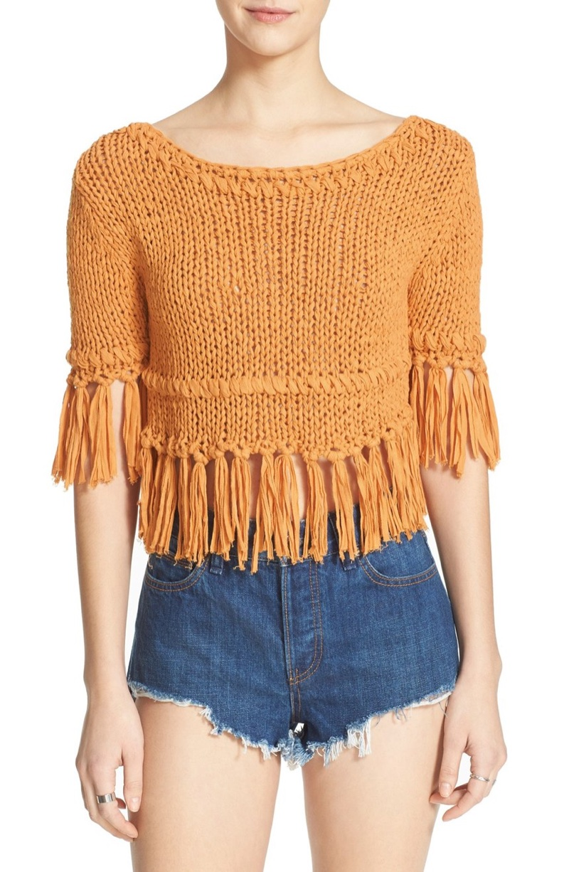 Free People Fringed Cropped Cotton Sweater