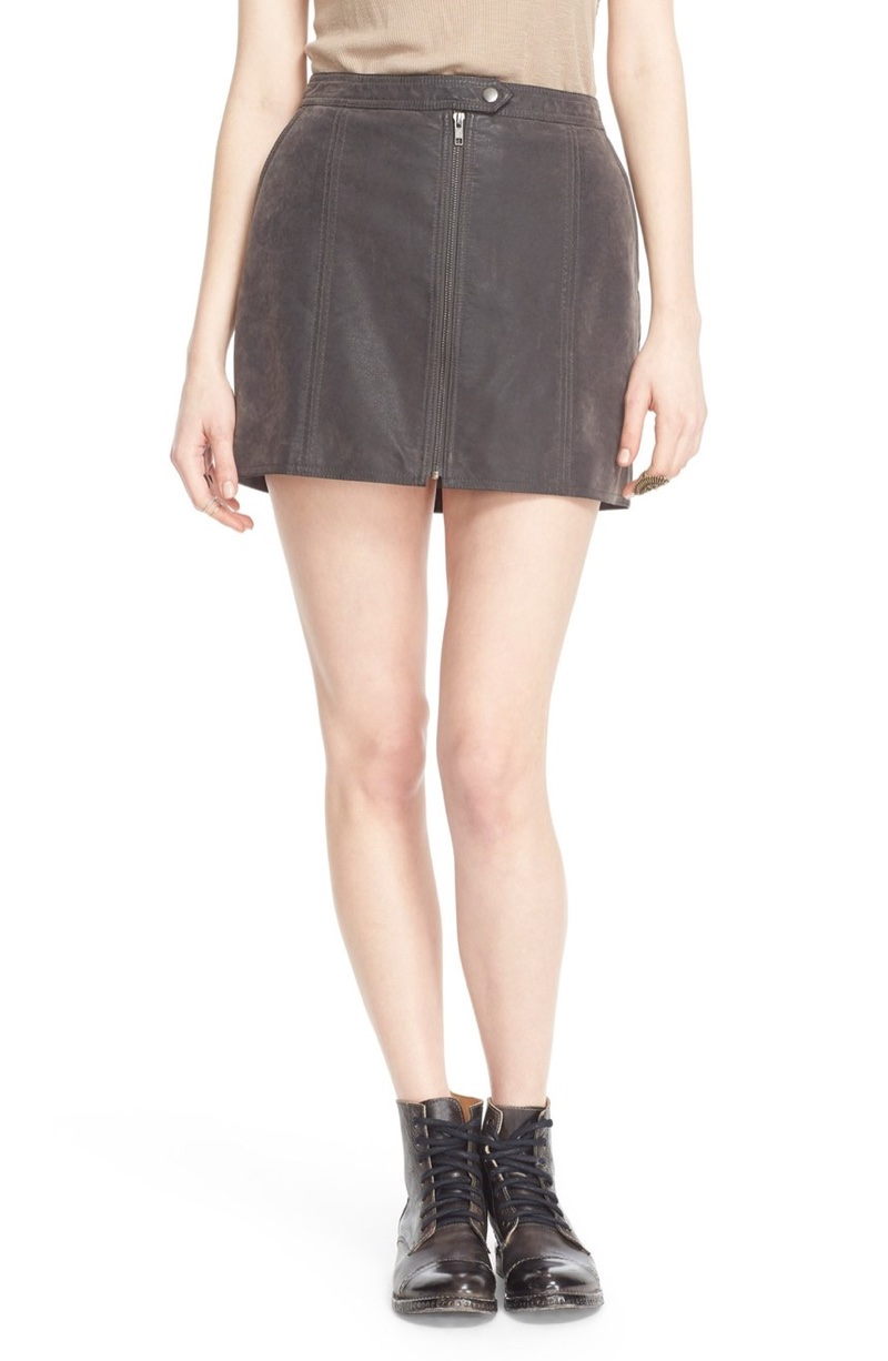 Free People Get into the Groove Faux Leather Mini Skirt