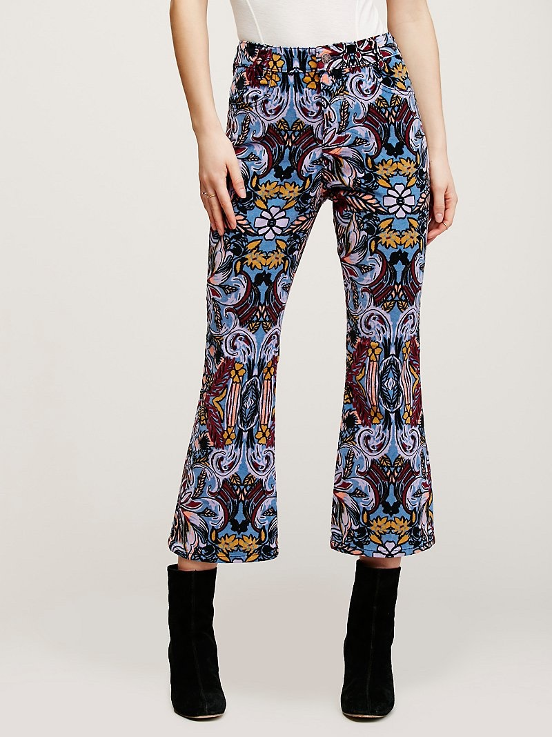 Free People Retro Printed High Rise Flare Pants
