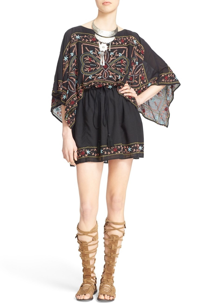 Free People Sheer Batiste Embroidered Tunic Dress