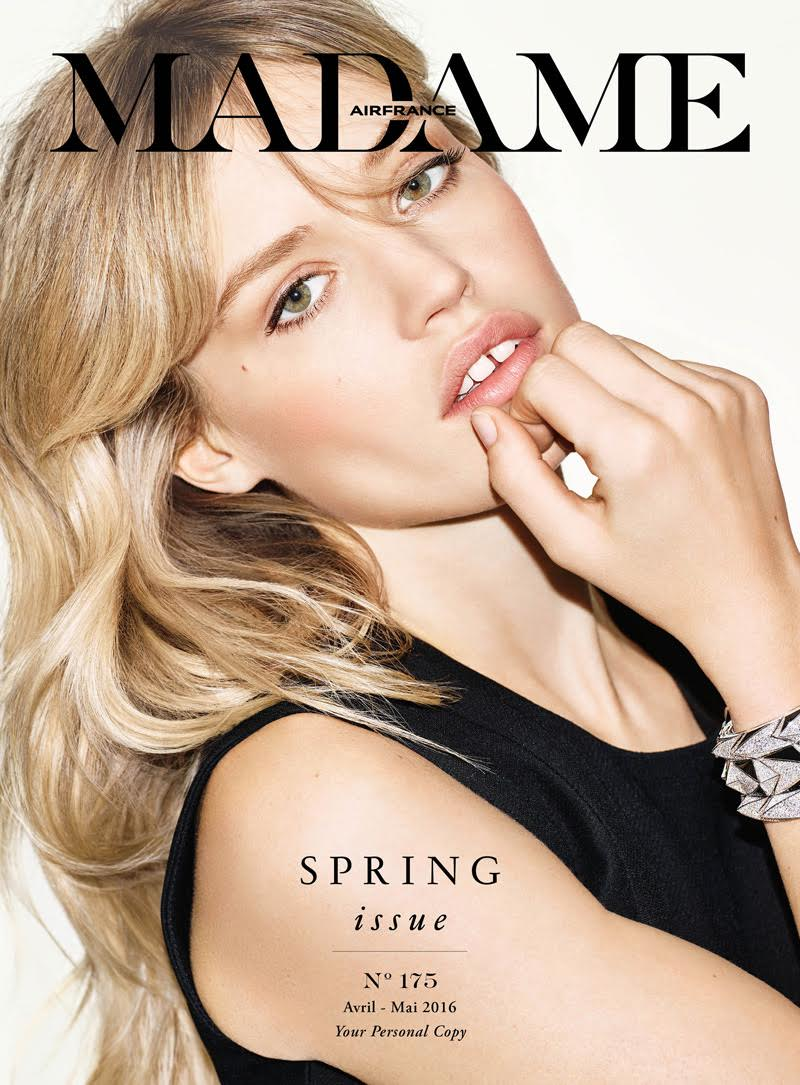 Georgia May Jagger covers the April/May 2016 issue of Air France Madame.