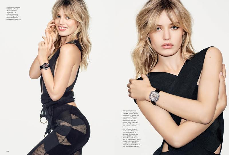Georgia May Jagger dons sexy black outfits as she highlights luxurious timepieces from brands such as Cartier.