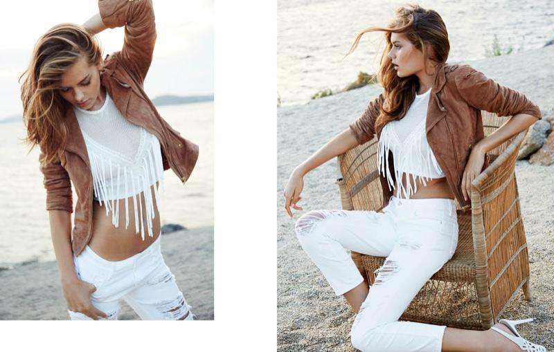 Solveig Mork wears cropped moto jacket, fringe embellished crop top and white denim in Guess' spring 2016 campaign