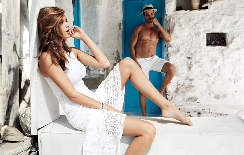 Solveig Mork wears white lace dress in Guess' spring 2016 campaign