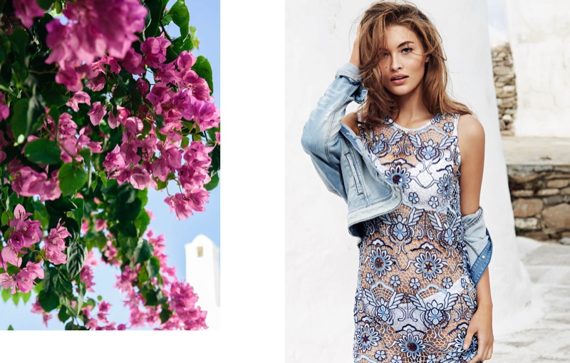 Guess features a denim jacket paired with a macrame floral dress in spring 2016 campaign
