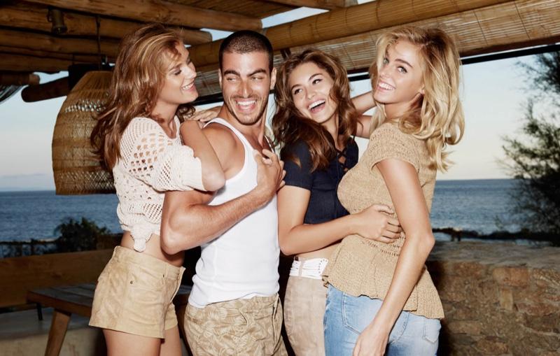 Grace Elizabeth, Elizabeth Turner, Solveig Mork and Gui Fedrizzi pose in Greece for Guess' spring 2016 campaign