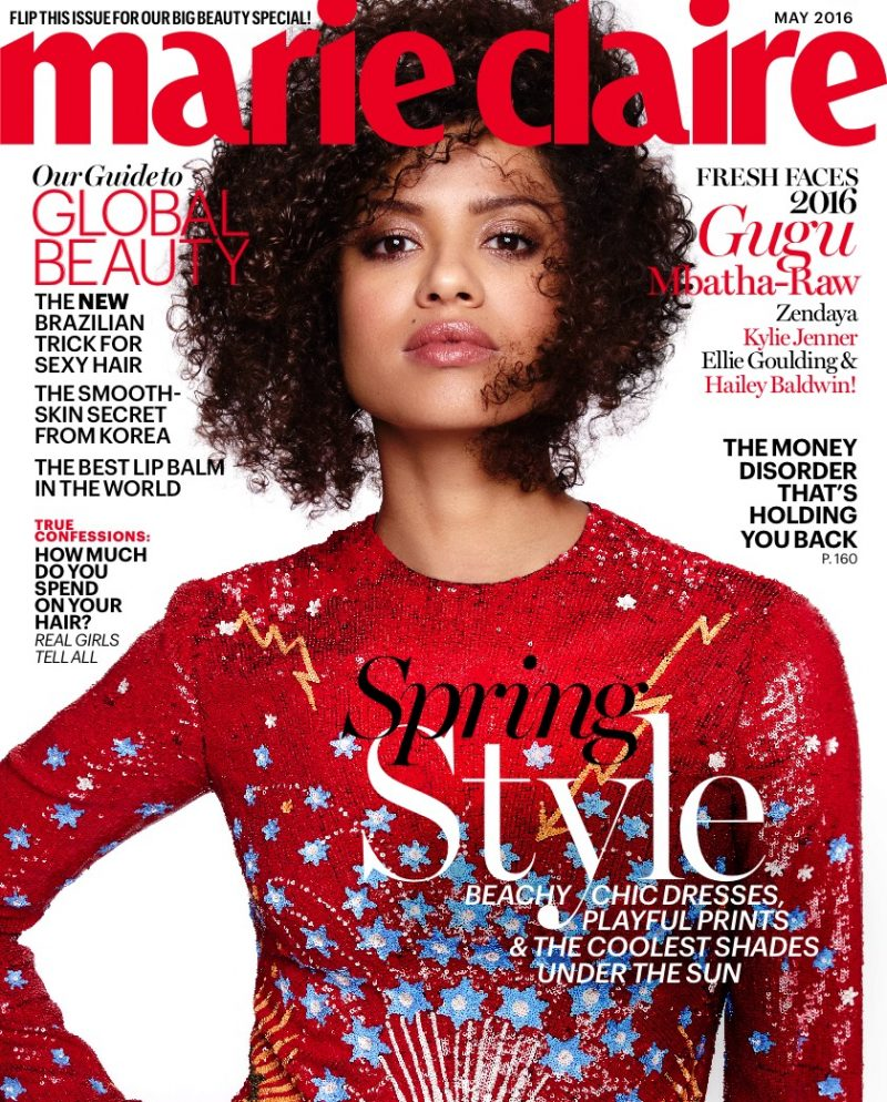 Gugu Mbatha-Raw covers the May 2016 issue of Marie Claire.