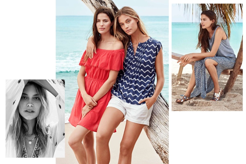 (Left) Barbara wears H&M Embroidered Maxi Dress and Double-Strand Necklace (Middle) Cameron wears H&M Cotton Off-the-Shoulder Dress, Barbara wears H&M Patterned Cotton Blouse and Cotton Shorts (Right) Cameron wears H&M Linen Jersey Tank Top and Long Skirt