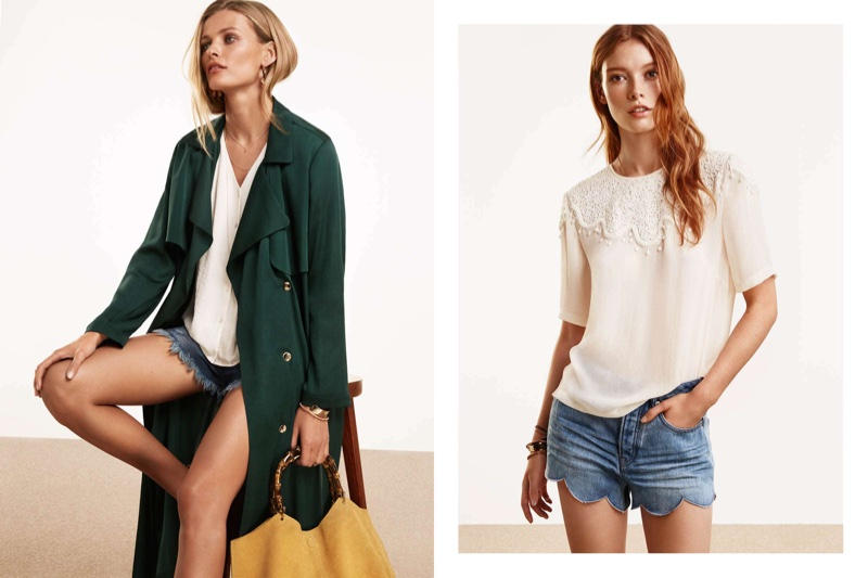 (Left) H&M Satin Trench Coat, Short-Sleeved Blouse and Distressed Denim Shorts (Right) H&M Embroidered Blouse and Scalloped Denim Shorts