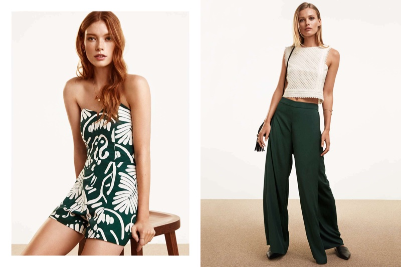 (Left) H&M Hawaiian Print Romper and Necklace with Pendant (Right) H&M Cropped Lace Top and Wide-Leg Pants with Slits