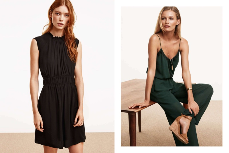 (Left) H&M Black Crinkled Dress (Right) H&M Embroidered Jumpsuit, Wedge-Heel Sandals and Rigid Cuff Bracelet