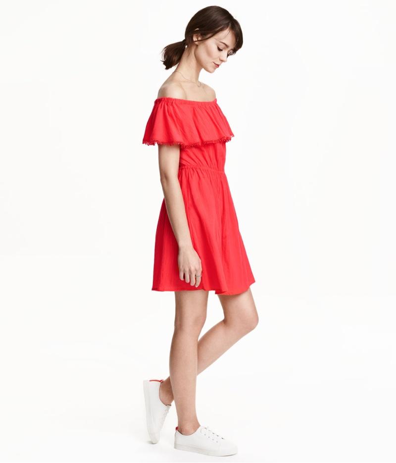 H&M Cotton Off-the-Shoulder Dress