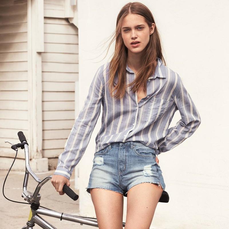 H&M Striped Cotton Shirt and High-Waist Denim Shorts
