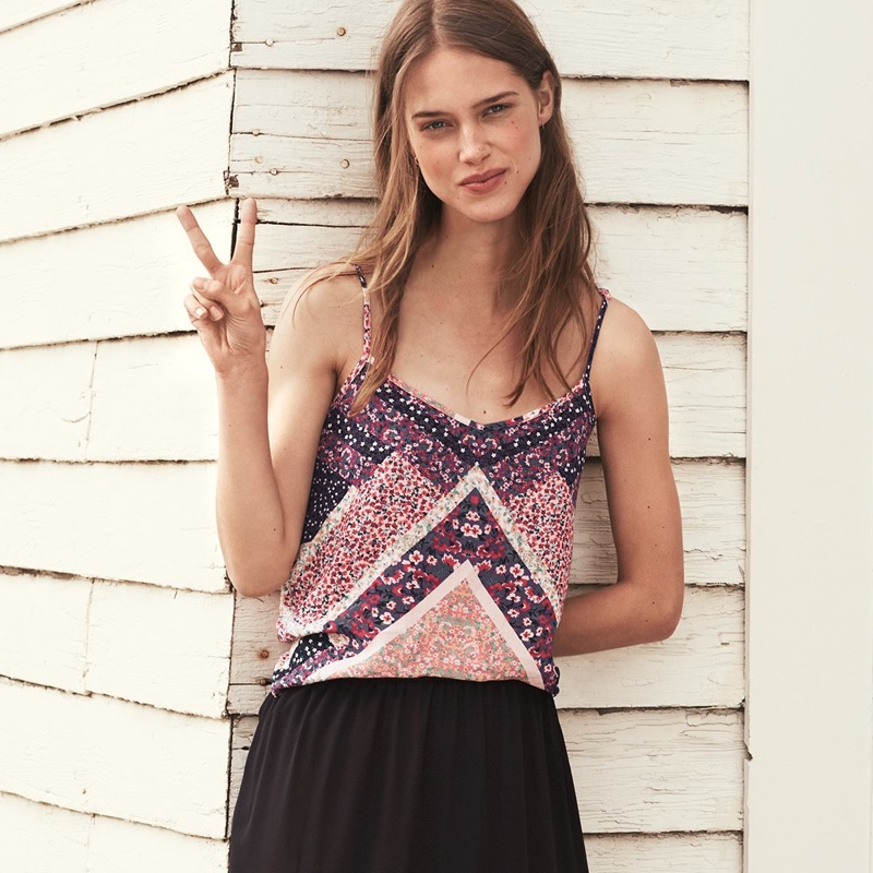 H&M V-Neck Camisole Top and Black Chiffon Skirt