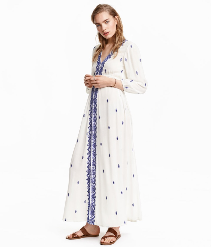 H&M Embroidered Maxi Dress