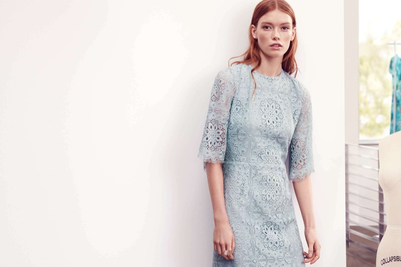 H&M Blue Lace Dress and Open Ring