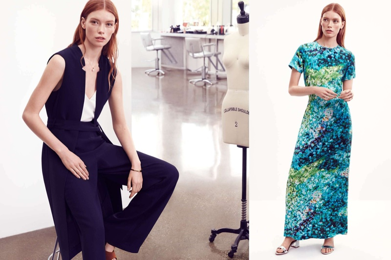 (Left) H&M Long Vest, Ribbed Tank Top and Trousers (Right) H&M Long Silk Dress and Silver Sandals
