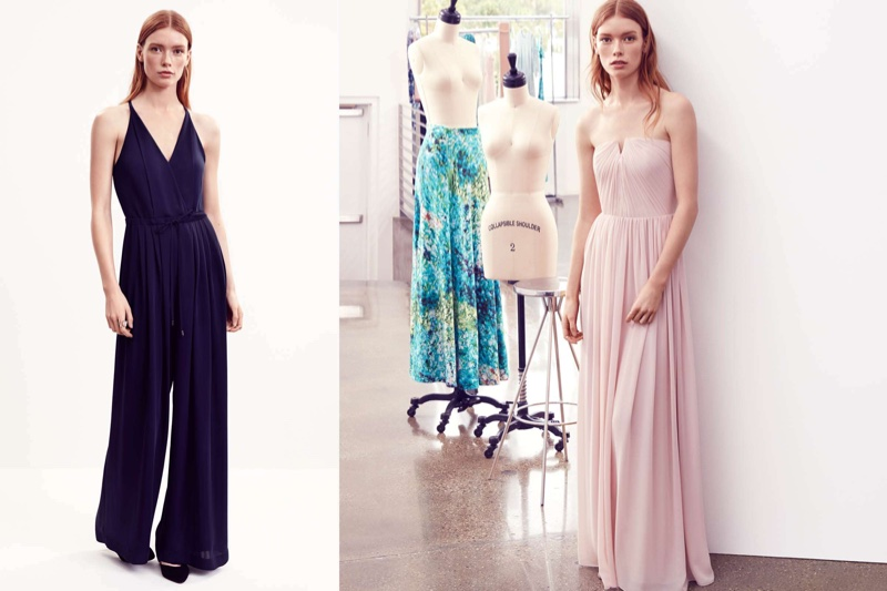 (Left) H&M Jumpsuit with Wide Legs, Pumps and Open Ring (Right) H&M Pink Pleated Maxi Dress