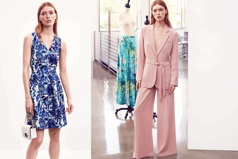 (Left) H&M Sleeveless Dress and Shoulder Bag (Right) H&M Jacket with Tie Belt and Wide-Cut Pants