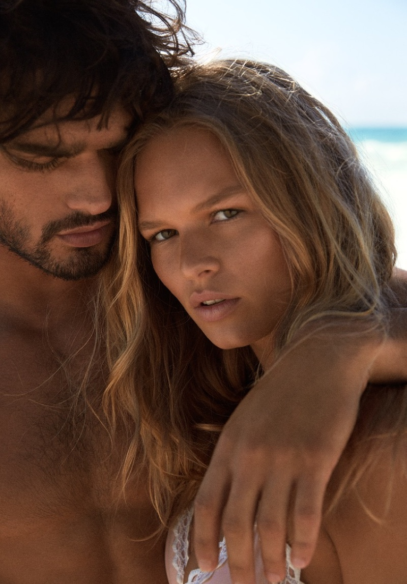 Anna Ewers looks perfectly sun-kissed with her hair in beachy waves for H&M's summer 2016 campaign