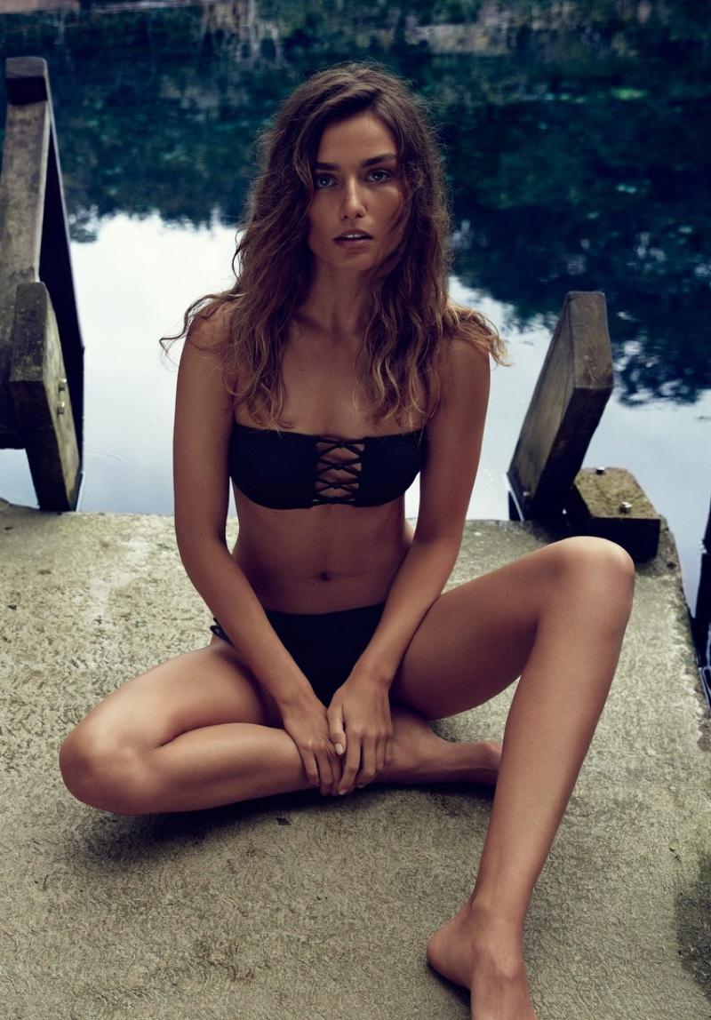 Andreea Diaconu models a black bandeau top and bikini bottoms from H&M