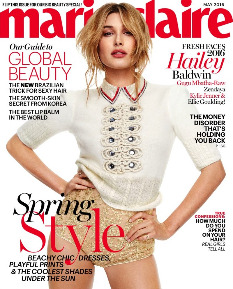 Hailey Baldwin covers the May 2016 issue of Marie Claire.