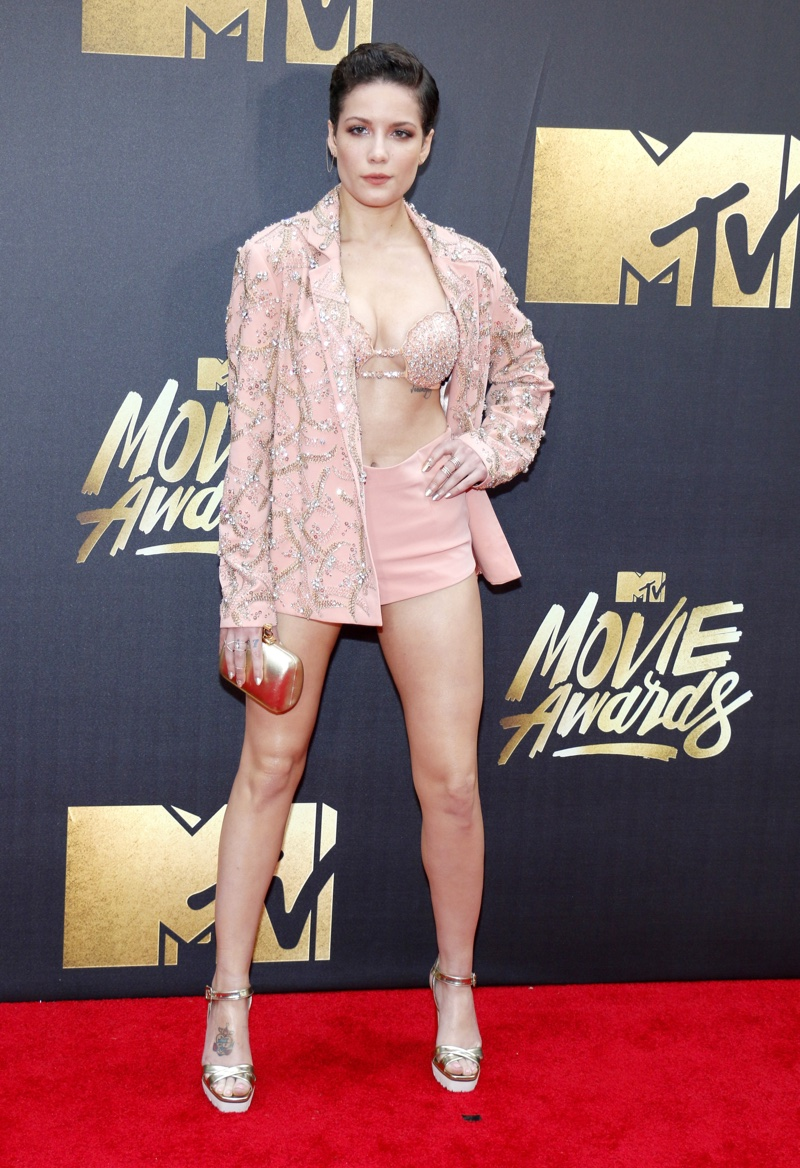 Singer Halsey rocked a pink jacket and shorts designed by Idan Cohen. Photo: Tinseltown / Shutterstock.com