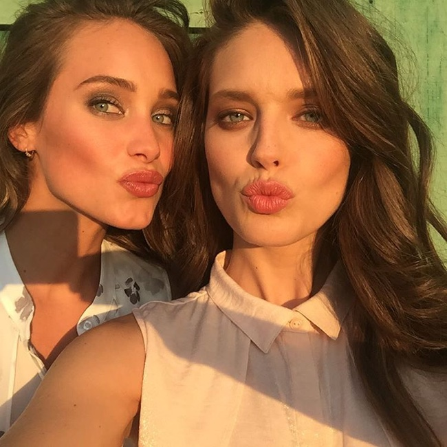 Hannah Davis and Emily DiDonato take a selfie on Instagram behind the scenes on Liverpool shoot.